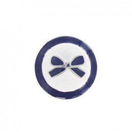 Metal button, bow, two-tone - navy blue