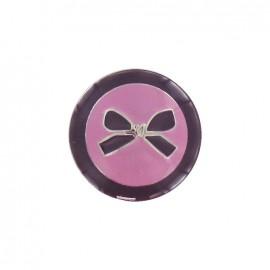 Bouton métal noeud bicolore prune
