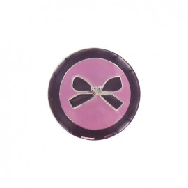 Metal button, bow, two-tone - plum