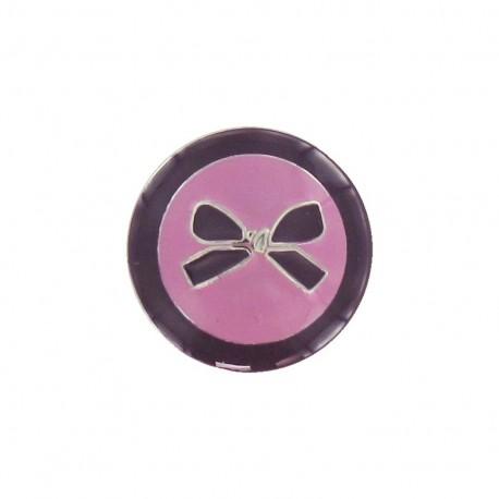 Metal button, bow, two-tone - plum