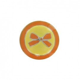 Metal button, bow, two-tone - orange