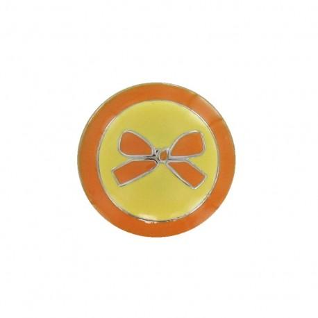 Metal button, bow, two-tone - orange