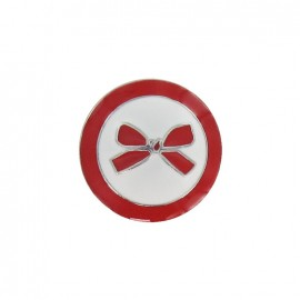 Metal button, bow, two-tone - red