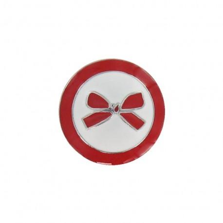 Bouton métal noeud bicolore rouge