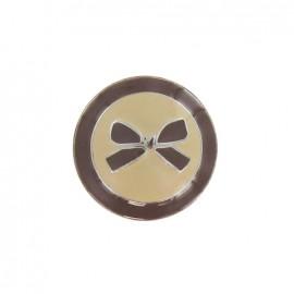 Bouton métal noeud bicolore brun