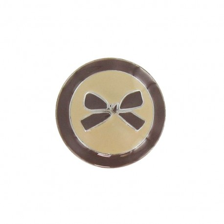 Metal button, bow, two-tone - brown