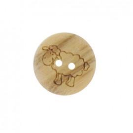Bouton bois naturel mouton