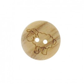 Wooden button, sheep - natural