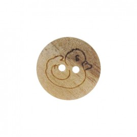 Wooden button, duck - natural