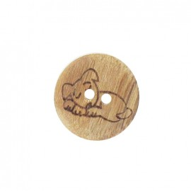 Wooden button, dog - natural