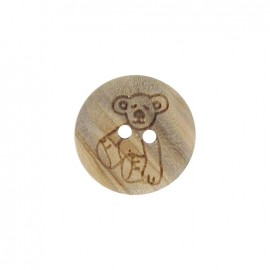 Wooden button, bear cub- natural
