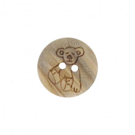 Wooden button, bear cub- natural
