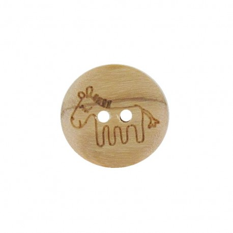Wooden button, horse - natural