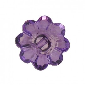 Polyester button, Flower - translucent purple