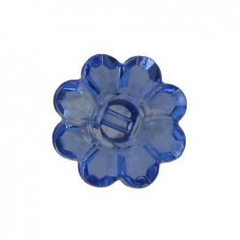 Bouton Polyester Fleur translucide bleu