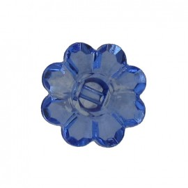Polyester button, Flower - translucent blue