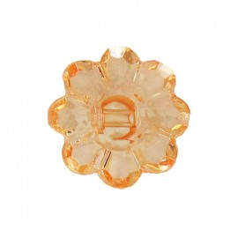 Polyester button, Flower - translucent orange