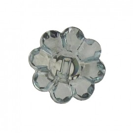 Polyester button, Flower - translucent black