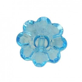 Polyester button, Flower - translucent turquoise