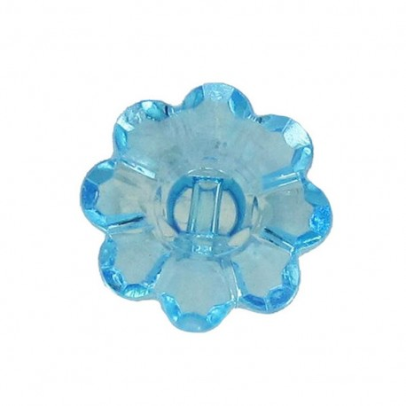 Bouton Polyester Fleur translucide turquoise