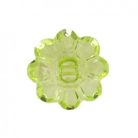 Polyester button, Flower - translucent lime