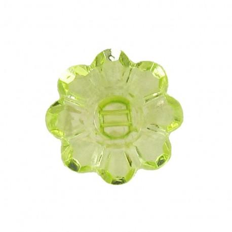Bouton Polyester Fleur translucide vert clair