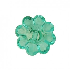 Polyester button, Flower - translucent green