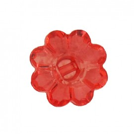 Polyester button, Flower - translucent red