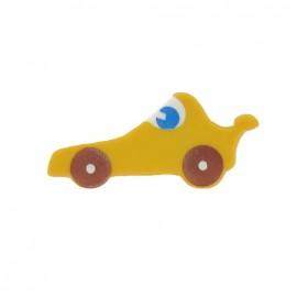 Bouton polyester voiture de course jaune