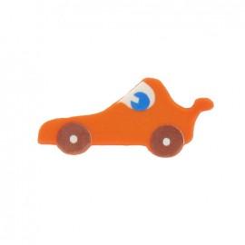 Bouton polyester voiture de course orange