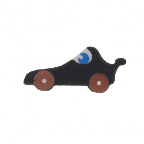 Polyester button, racing car - black