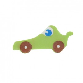 Bouton polyester voiture de course vert clair