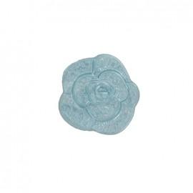 Bouton Polyester Fleur effet moulé bleu ciel