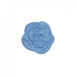 Polyester button, molded-effect Flower - blue