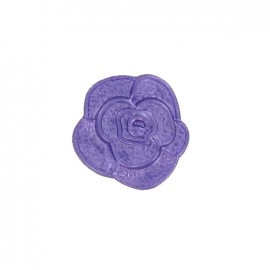 Polyester button, molded-effect Flower - purple