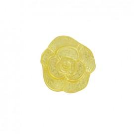 Bouton Polyester Fleur effet moulé jaune