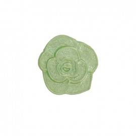 Polyester button, molded-effect Flower - green