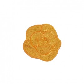 Polyester button, molded-effect Flower - orange