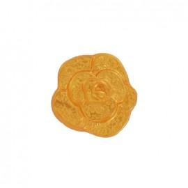 Polyester button, molded-effect Flower - orange