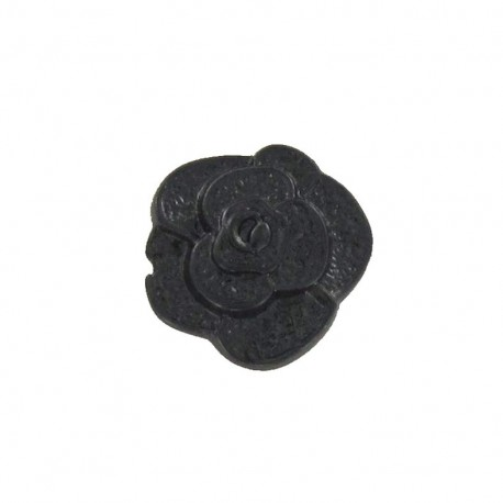 Polyester button, molded-effect Flower - black