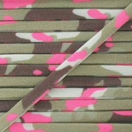 Spaghetti Elastic Cord 5mm, Camouflage - Fluo Pink