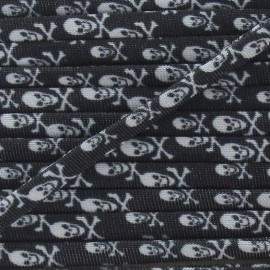 Spaghetti Elastic Cord 5mm, Skull - black and white