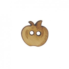 Dark Wooden button, small size, apple - brown