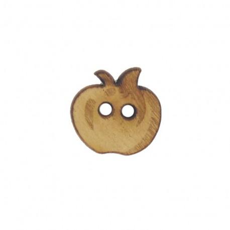 Dark Wooden button, small size, apple - brown