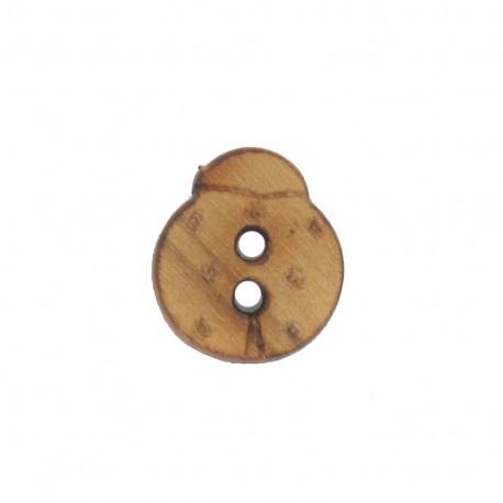 Dark Wooden button, small size, ladybird - brown