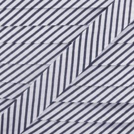 Biais coton rayé bleu marine