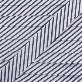 Cotton bias binding, stripes - navy