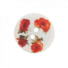 Bouton polyester fleuri roses