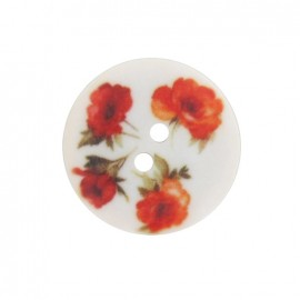 Polyester flowered button, roses - red