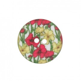 Polyester flowered button, petunia - red